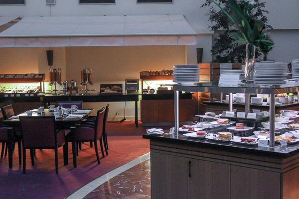 The breakfast buffet showing a clean and spacious breakfast area with plenty of different foods available