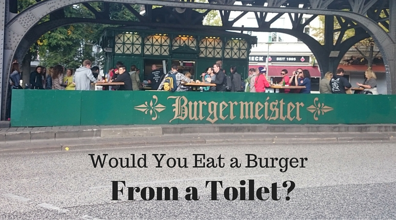 An old converted public toilet turned into a burger kiosk. Are you brave enough to try it? Burgermeister - Berlin, Germany