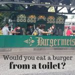 An old converted public turned into a burger kiosk. Are you brave enough to try it? Burgermeister - Berlin, Germany