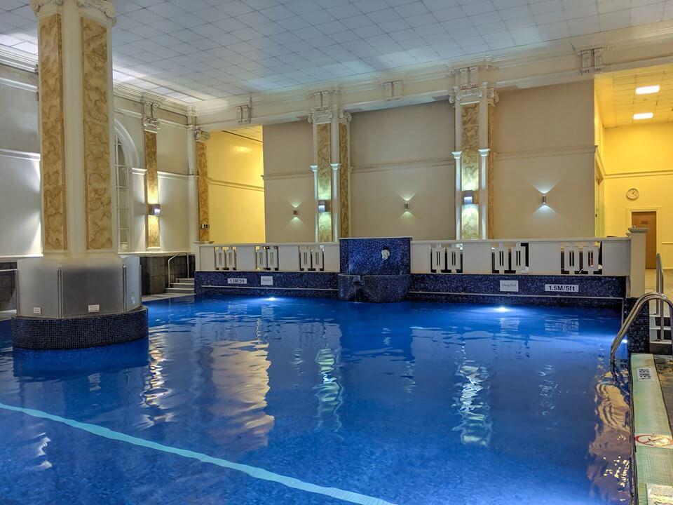 The stunning indoor pool at the grand Le Meridien Piccadilly Hotel in London