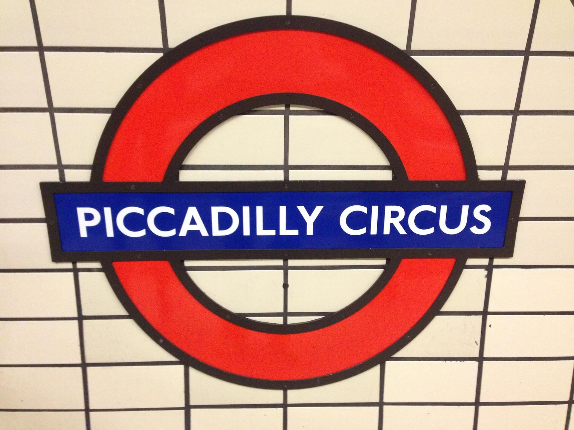 London Piccadilly Circus Tube Sign