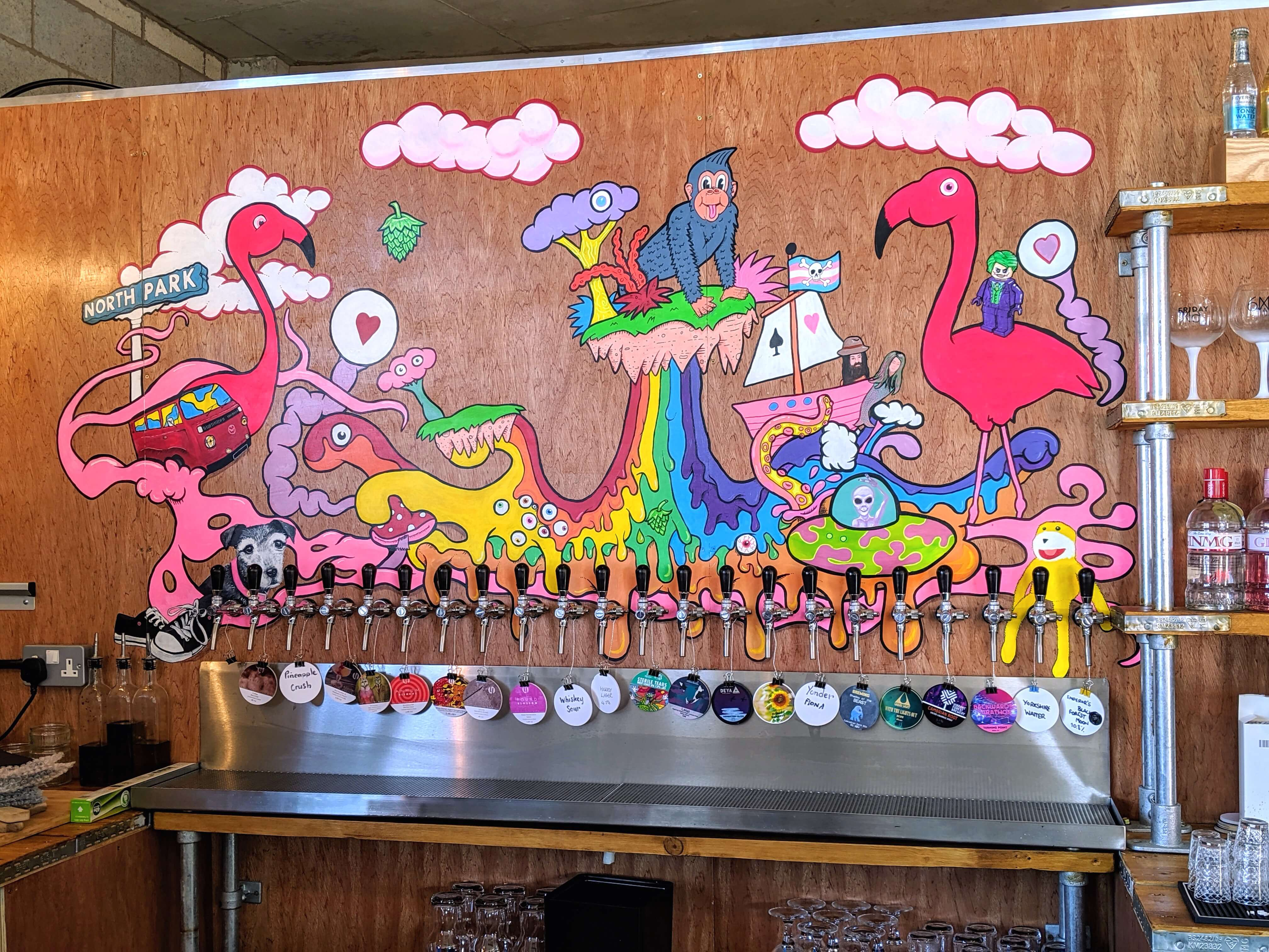 Colourful artwork at Lost Industry Tap Room - A great place to enjoy local Sheffield beer