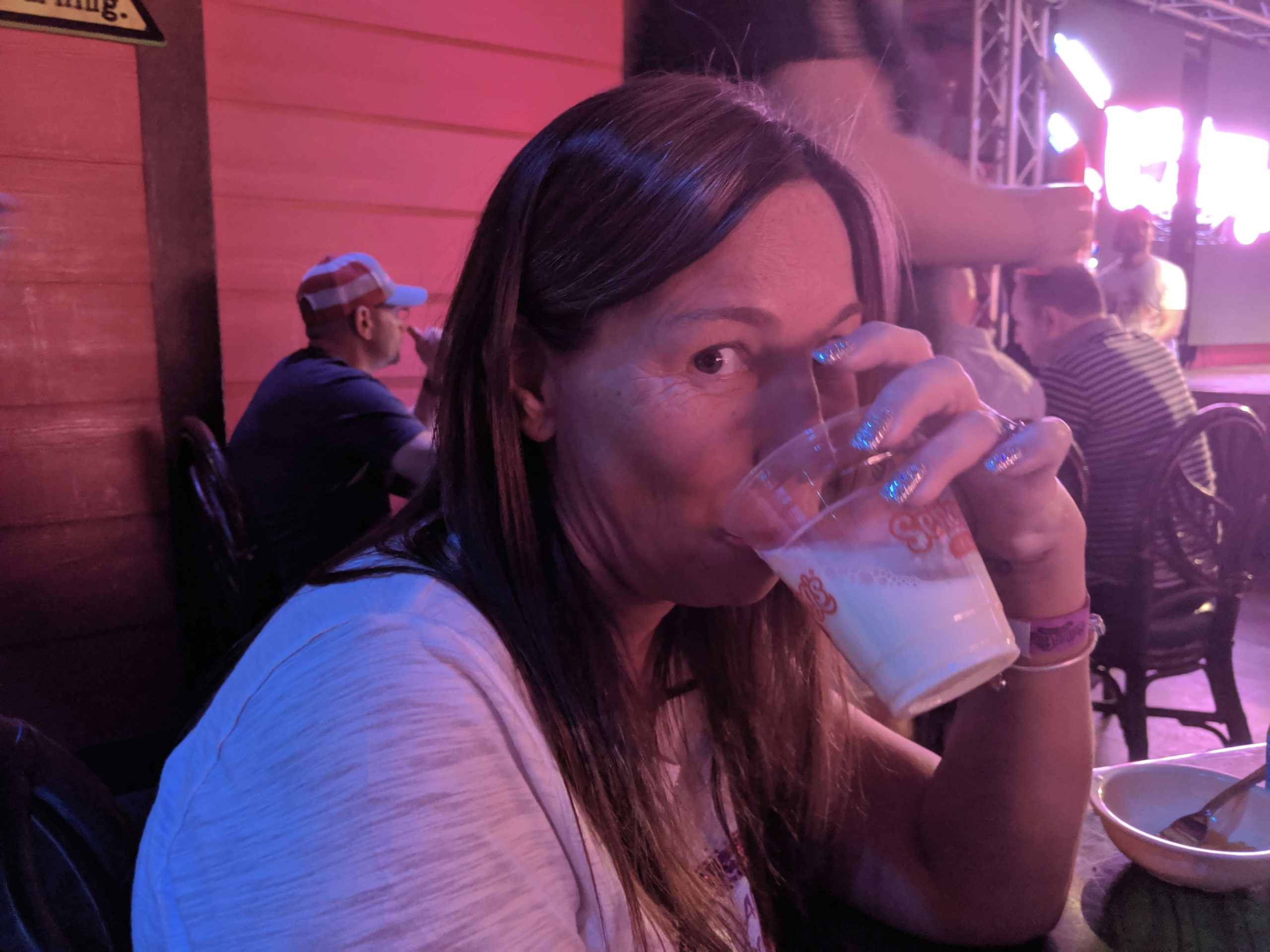 Mummy curious enjoying the non alcoholic beverages available at the Drag Queen Brunch, Las Vegas