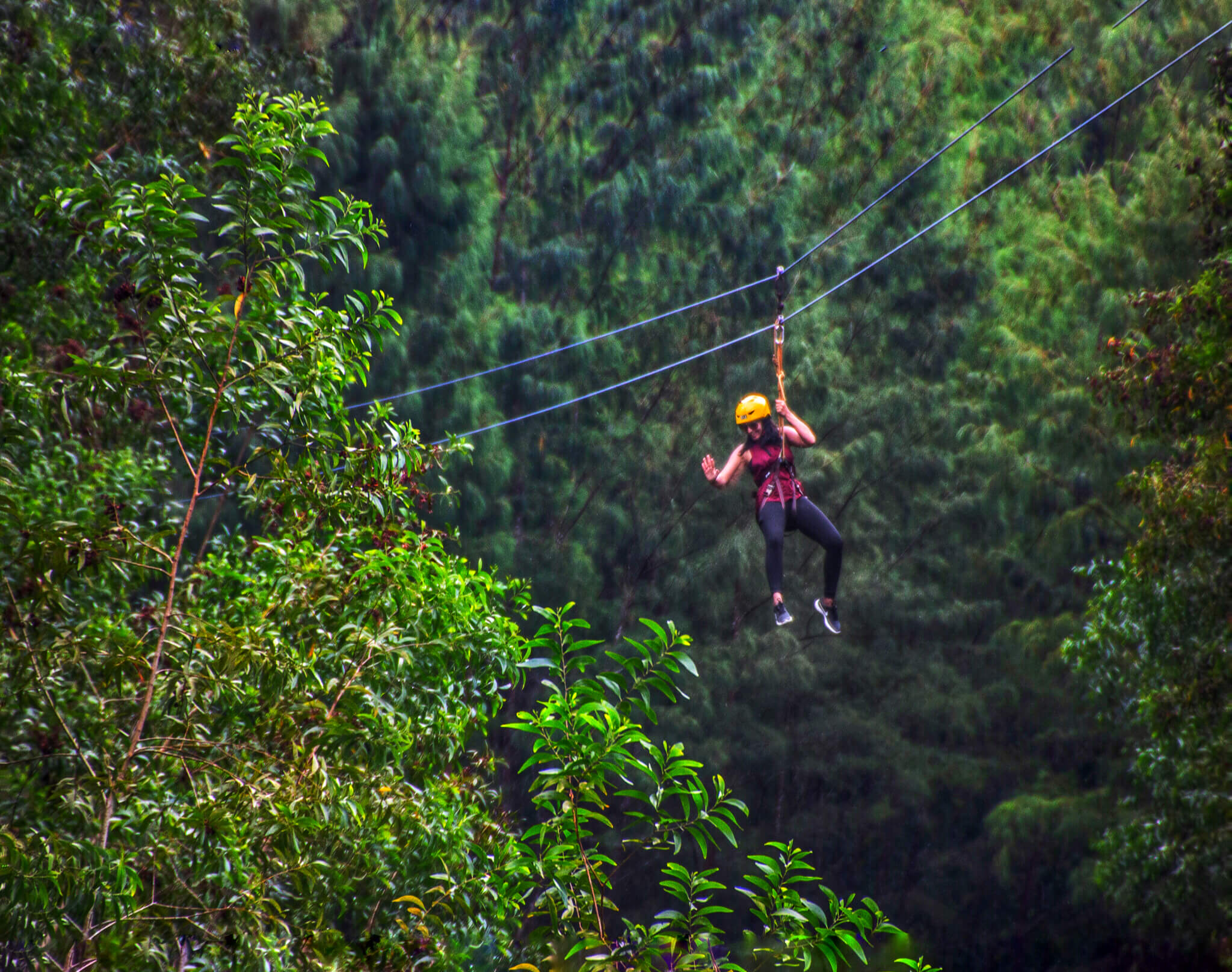 Ziplining over the Mayon Volcano in Legazpi, Philippines