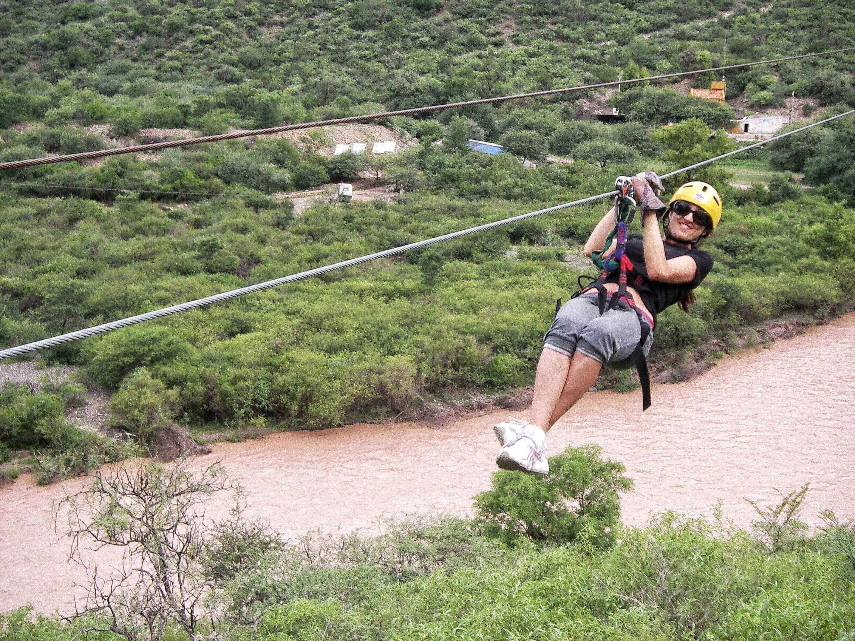 Zip lining over the Juramento River in Salta, Argentina