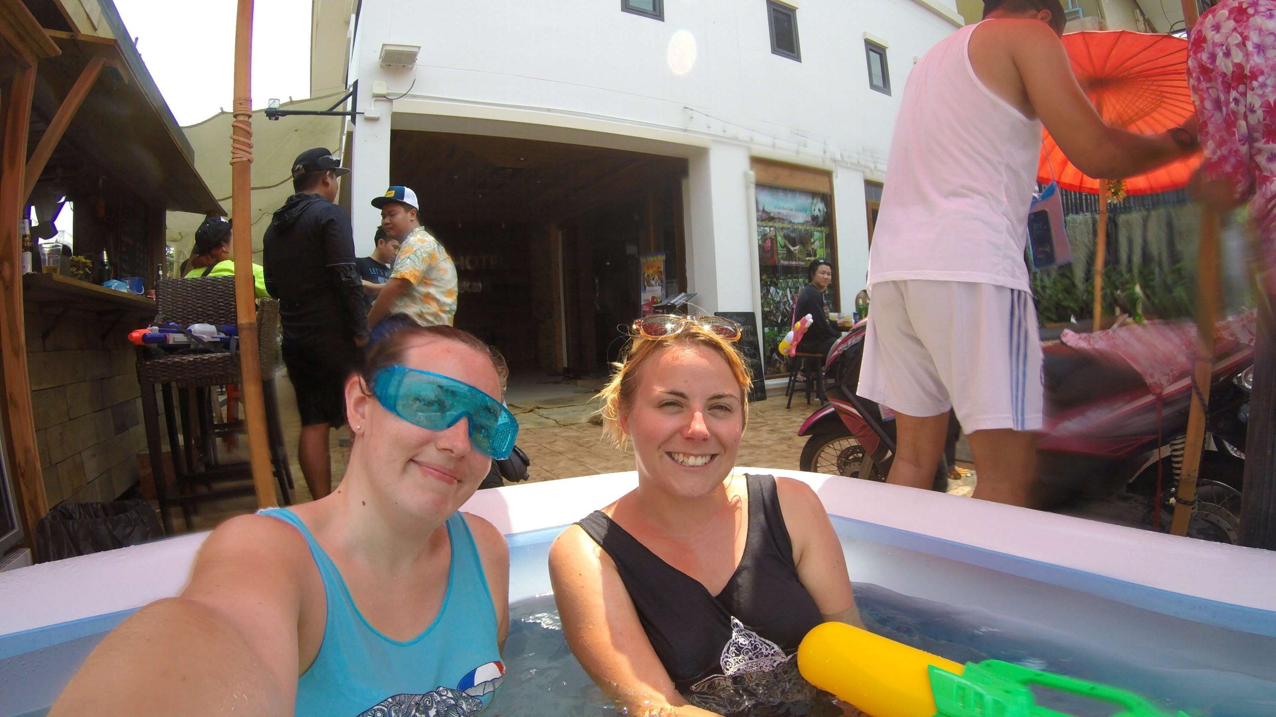 Chilling in the blow up pool outside our hostel for Songkran Festival