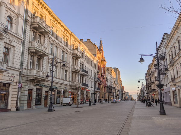 Piotrkowska Street - one of the cool things to do in Lodz is explore this 4km street