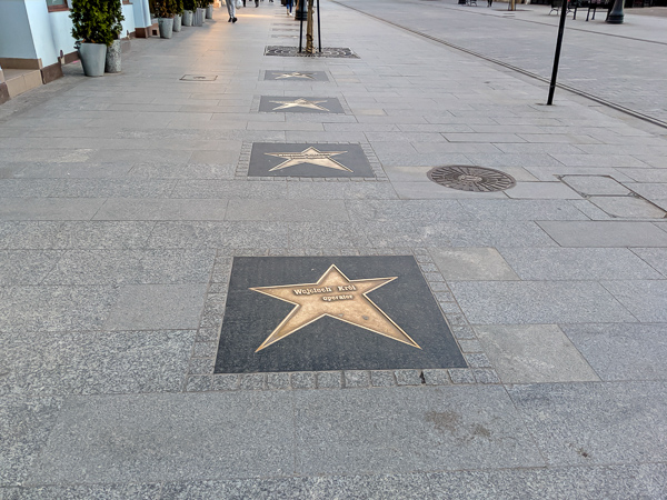 The famous walk of stars in Lodz