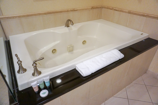 The best feature in the luxury suite is the relaxing whirlpool spa tub
