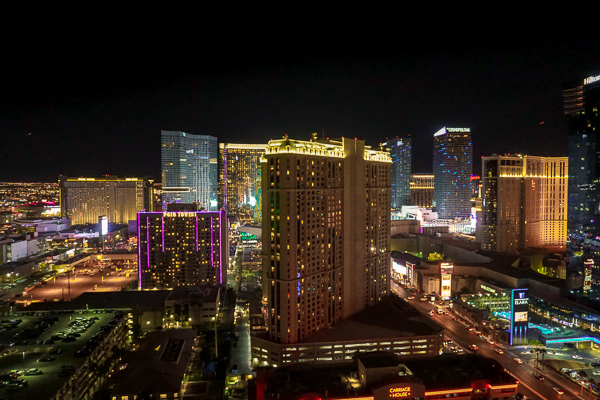 A view of the Las Vegas Strip from Tower 2 of The Signature at MGM Grand - Taken at night the sky is pitch black but brightened with the glow of the building lights