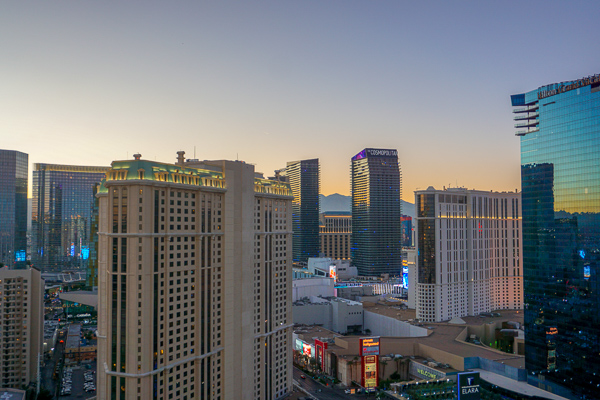 Enjoying a sunset sky from the private balcony overlooking the Las Vegas Strip