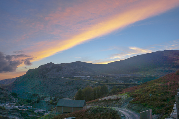 The incredible views at sunset enjoyed from our tent glamping in Snowdonia