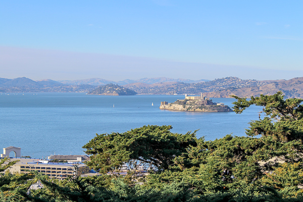 Checking out the gorgeous view of Alcatraz and the San Francisco bay from Pioneer Park - Stop 1 of the Vantigo City Tour