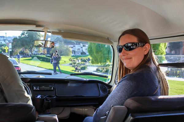 Happily sat in the front of the Vantigo Tours VW Volkswagen van
