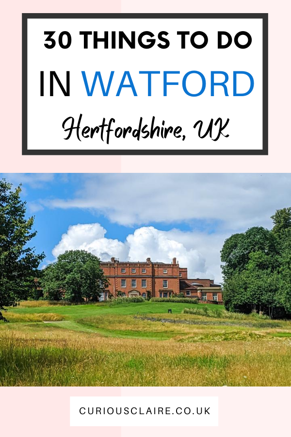 Are you heading to Watford? Surrounded by the Hertfordshire countryside, Watford has so much to offer. Here is my list of the best things to do in Watford, Hertfordshire #watford #hertfordshire #uktravel #travel #england | Best Things to do in Watford | Cool Things to do in Hertfordshire | Places to Visit in South England | Watford Guide | What to do in Watford | Best Gardens in Hertfordshire