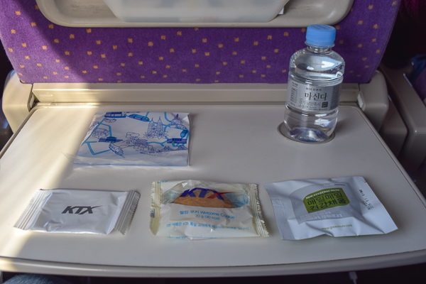 A spread of nuts, a biscuit and bottled water. A great reason to treat yourself to a first class train journey in Korea