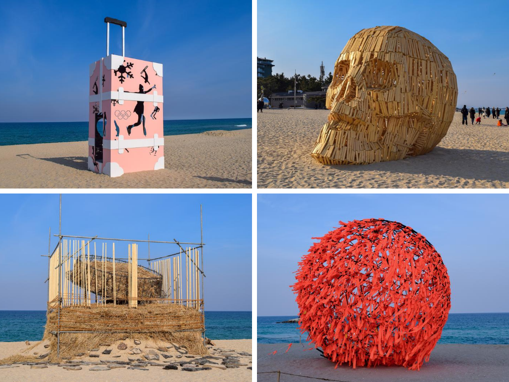 A collection of impressive art sculptures located along the beach