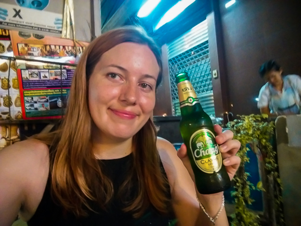 Enjoying a refreshing chang beer in Thailand on my first big backpacking trip - I took many little trips to prepare for solo travel in Asia