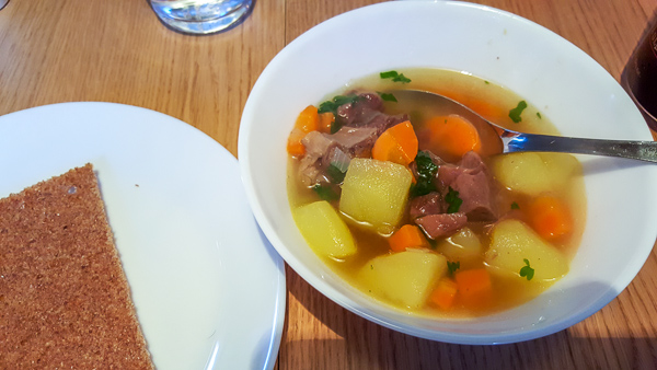 A delicious and colourful looking bowl of reindeer stew - cooked by the hosts of Aurora Holidays