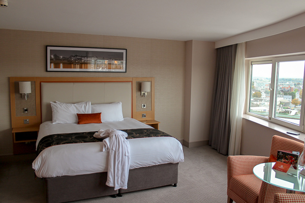 The gorgeous and spacious room at The Clayton Hotel Limerick with the River Shannon in view from the window