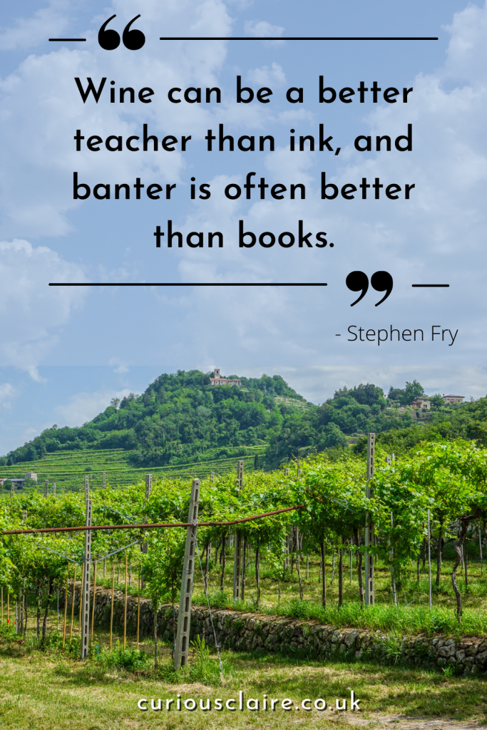 """""""Wine can be a better teacher than ink, and banter is often better than books."""" - Stephen Fry 